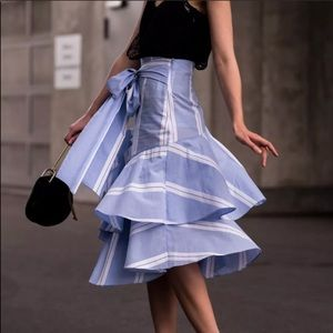 Zara blue striped skirt